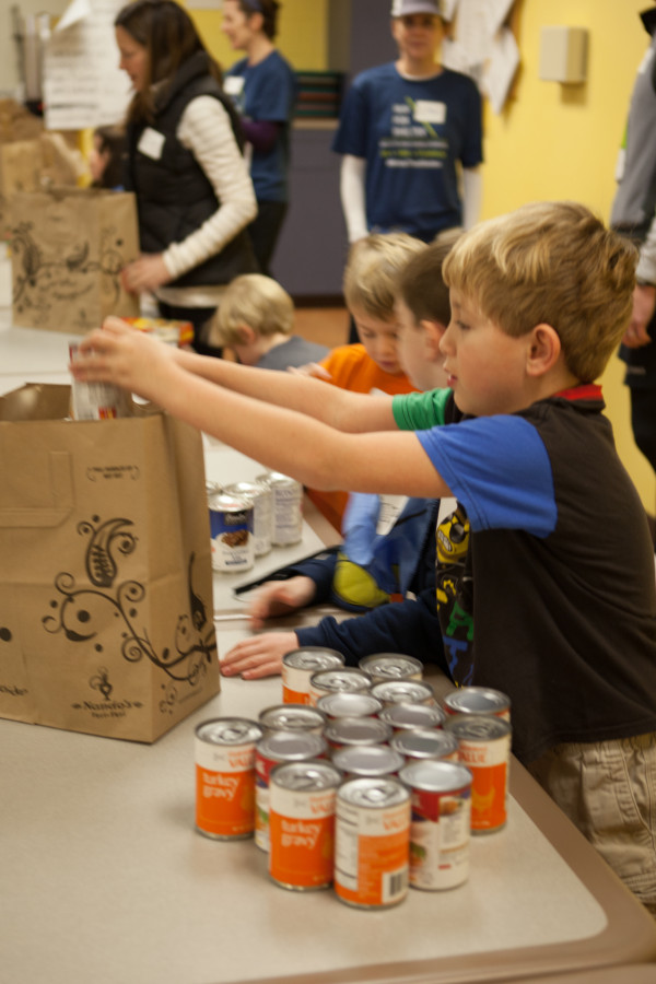 Thanksgiving Baskets putting in a can